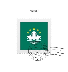 Macau flag postage stamp vector