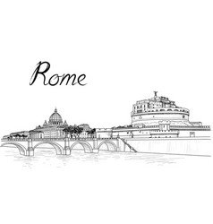 rome cityscape with st peters basilica and castle vector image vector image