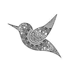 drawing zentangle for bird adult coloring page vector image