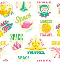 seamless pattern of cosmic icons vector image