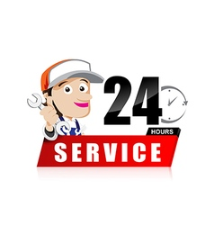Smile mechanic man with tool in hand service 24 vector image vector image