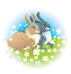 Two happy rabbits vector