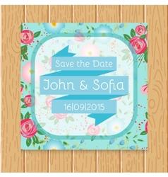 Vintage floral wedding invitation square shape vector image vector image