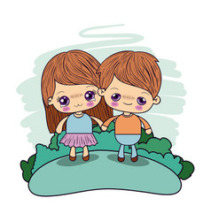 color picture couple kawaii kids girl cryin and vector image