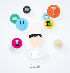Cook character with food cooking and serving icons vector image vector image