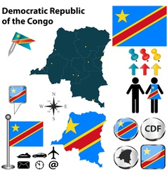 Democratic Republic of the Congo map vector image