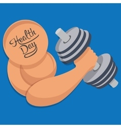 Dumbbell in hand health day vector image vector image
