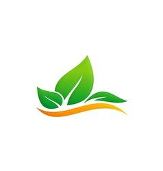 green leaf eco environment logo vector image vector image