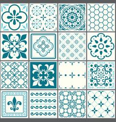 Portuguese tiles pattern lisbon seamless turquois vector