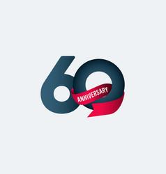 60 years anniversary celebration ribbon gradient vector
