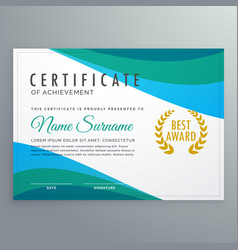 Abstract blue wave certificate of achievement vector
