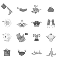April fools day icons set gray monochrome style vector