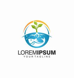 Aquaponics logo stock template vector