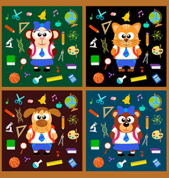 back to school background set with animals vector image