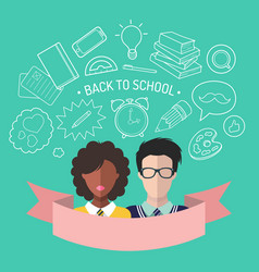 back to school in flat vector image