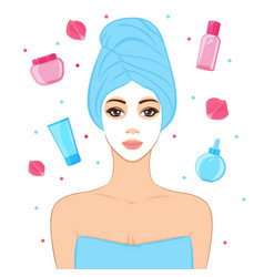 Beautiful woman with facial mask cosmetics and vector