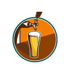 Beer Pint Glass Tap Retro vector