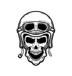 biker skull in helmet isolated on white vector image