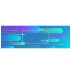 blue creative solutions banner with geometric vector image