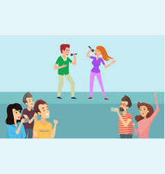boy and girl singing in karaoke on stage vector image