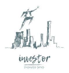 business investor flies above city vector image