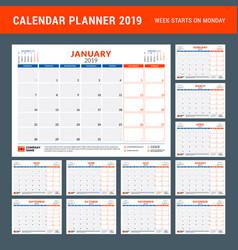 Calendar planner for 2019 year stationery design vector