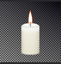 Candle flame fire isolated on checkered background vector
