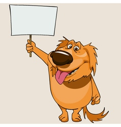 Cartoon cheerful dog standing with a blank banner vector