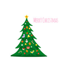 christmas tree decorated with decorations vector image
