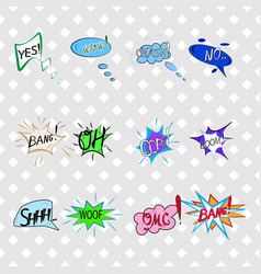 Comics sound speech effect bubbles isolated on vector