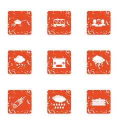 Context icons set grunge style vector