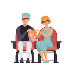 couple watching movie in cinema theater in 3d vector image