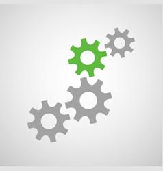 creative cogwheel mechanism with four gears vector image