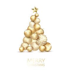 creative xmas tree made by shiny golden balls on vector image