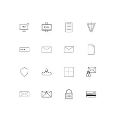 cyber security simple linear icons set outlined vector image