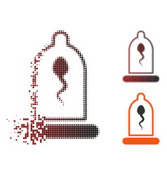 Disintegrating pixel halftone sperm in condom icon vector