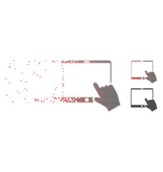 dissipated pixel halftone hand pointer tablet icon vector image
