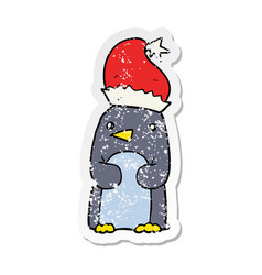 distressed sticker of a cute christmas penguin vector image