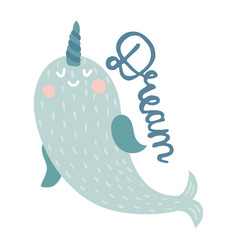 dream narwhal vector image
