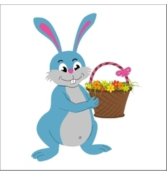 Easter rabbit with basket full of flowers vector image