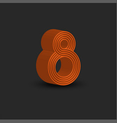 Eight logo 3d number 8 isometric shape orange vector
