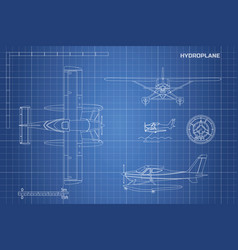 Engineering blueprint of plane hydroplane vector