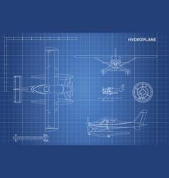 engineering blueprint plane hydroplane vector image