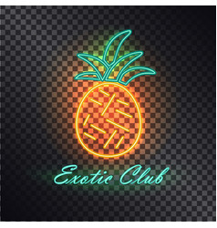 Exotic club bright signboard with neon pineapple vector
