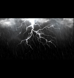 Falling raindrops isolated on black background vector