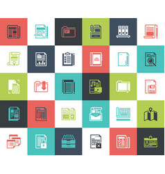 files and documents flat line icons vector image