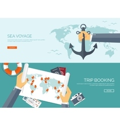 Flat backgrounds set Travel vector image