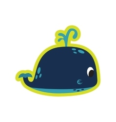 Flat icon on white background whale fountain vector