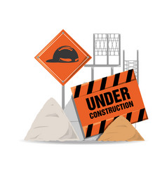 Flat under construction warning and concrete vector