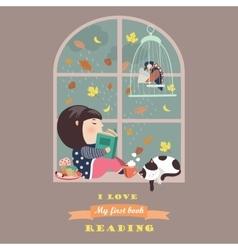 Girl reading window vector